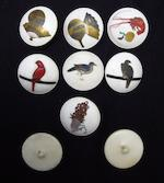 A set of seven shibayama buttons and two lacquer examples Meiji