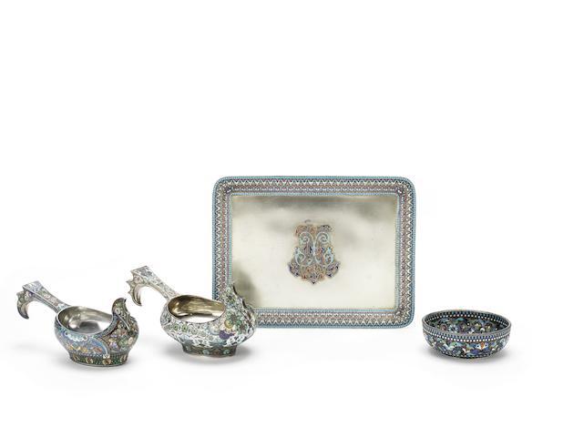 A silver-gilt and shaded enamel kovsh11th artel, Moscow, 1908-1917