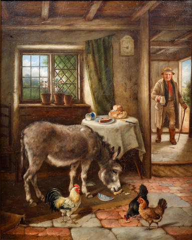 Charles Hunt (British, 1829-1900) Cottage interior with donkey and poultry