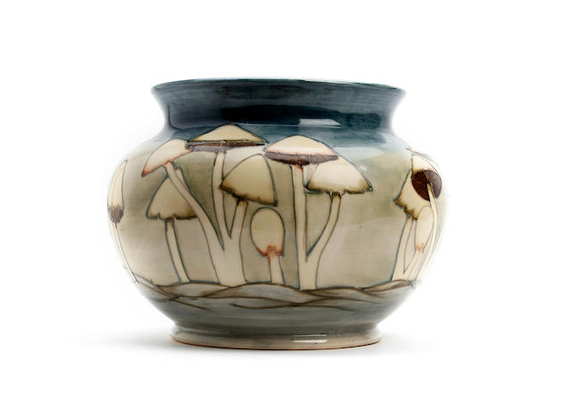 A large Moorcroft 'Fairy Rings/Toadstools' design jardinière Circa 1990