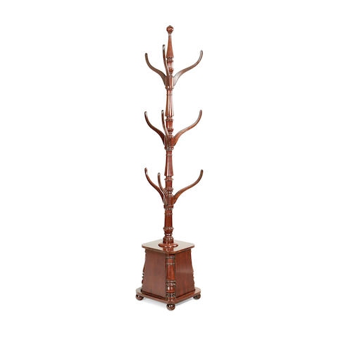 An early Victorian mahogany coat and hat stand
