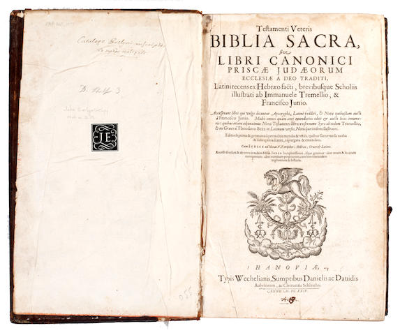BIBLE, in Latin Testamenti veteris [-Testamentum novum] Biblia sacra, 3 parts in one vol., JOHN EVELYN'S COPY, 1624