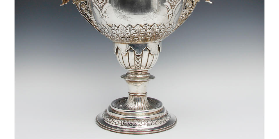 'The Royal Leamington Spa Hospital Saturday Football Challenge Cup';  A Victorian silver two-handled trophy  by Lee & Wigfull, Sheffield, 1893,