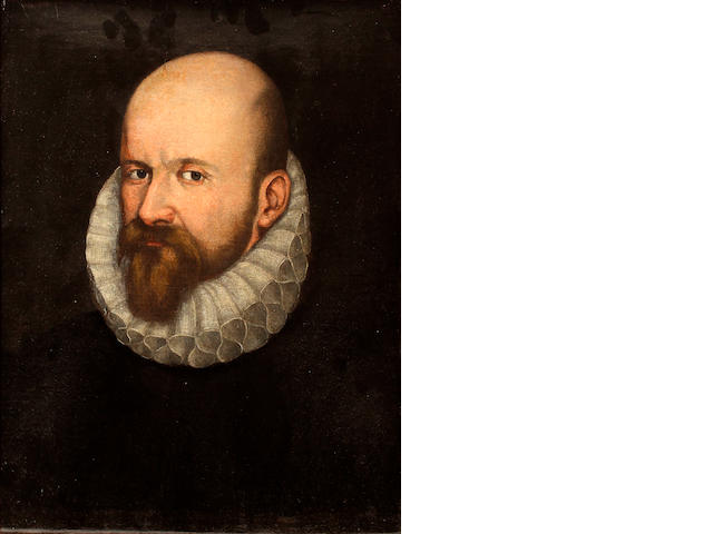 English School, circa 1600 Portrait of a gentleman, bust length, wearing a dark tunic and white ruff