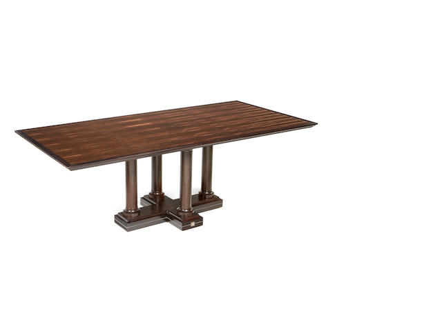 A David Linley ebony and rosewood dining table