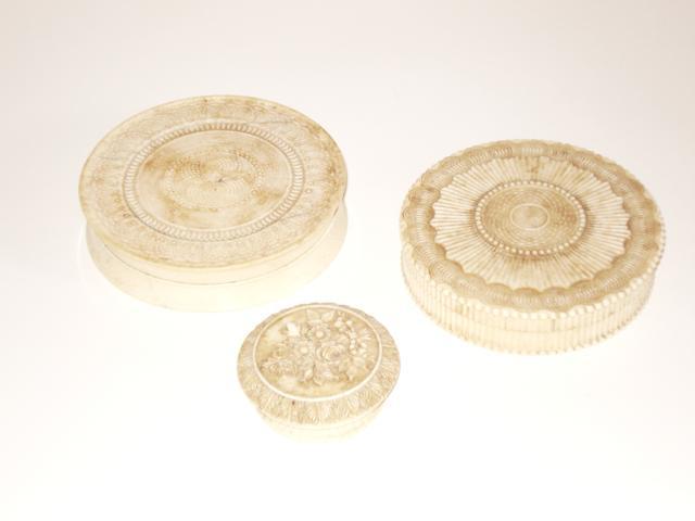Three export ivory boxes