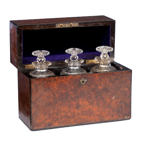 A Victorian burr-walnut and ebony banded decanter box