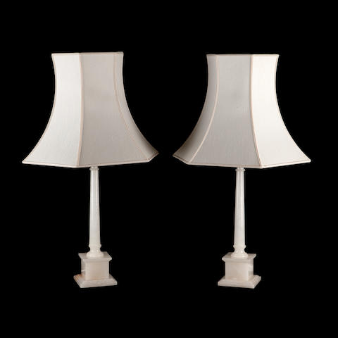 A pair of modern alabaster table lamps