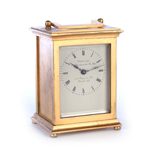 An early 20th century gilt-metal carriage time-piece