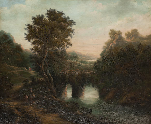 Follower of Alexander Nasmyth (19th century) River landscape with classical ruins