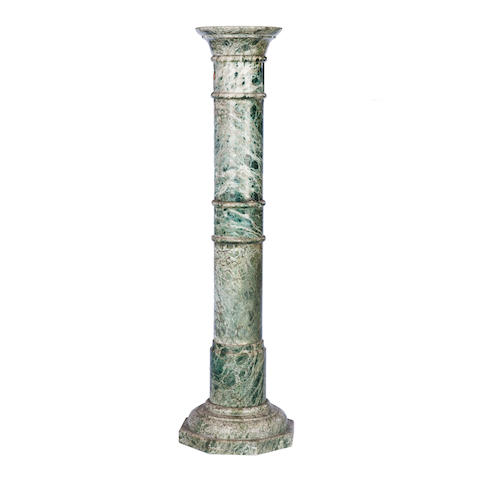 An early 20th century green variegated marble column