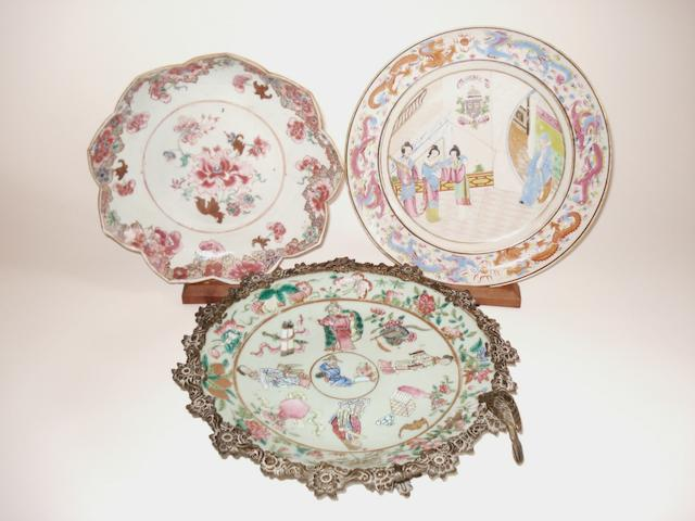 Three famille rose export plates Late 18th century and later