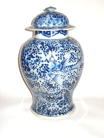 A blue and white baluster jar and cover 19th century