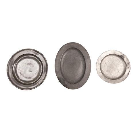 Three 18th century pewter plates