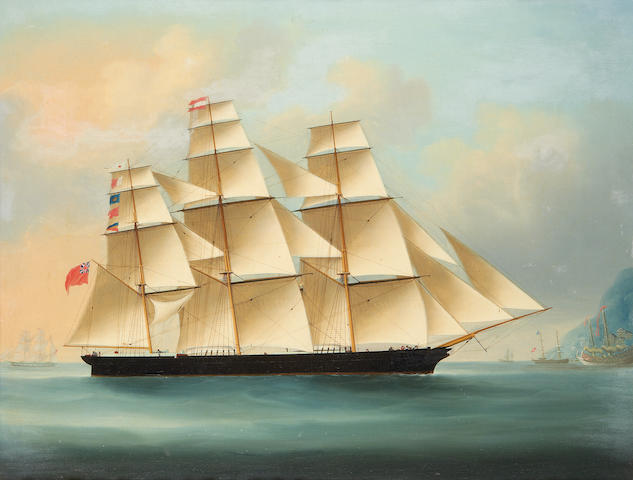 Anglo-Chinese School, mid-19th Century The clipper 'Falcon' off the south China coast
