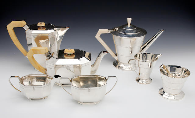 An Art Deco silver and ivory four piece tea and coffee service by Viners, Sheffield 1939