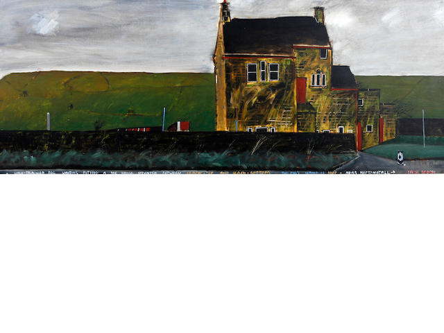 Peter Brook (British, 1927-2009) 'A Well-Trained Dog Waiting Outside A Big House Situated Between Slack-Top and Slack-Bottom The Dog's Name is Shep - Near Heptonstall'
