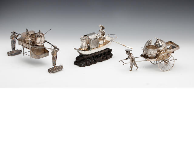 A Chinese silver novelty cruet by Hung Chong, Canton and Shanghai, circa 1900