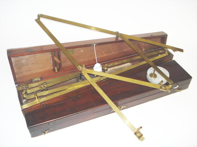 Two brass pantographs in cases, English, early 19th century, (2)