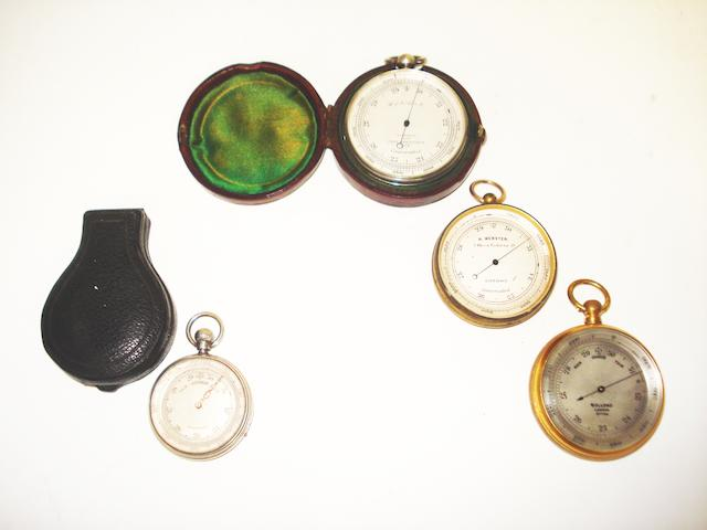 Four pocket barometers,  early 20th century, (4)