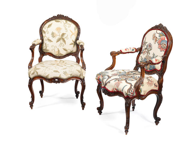A pair of German carved walnut armchairs