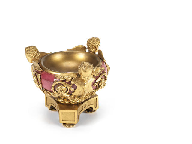 A French or Russian late 19th century gilt-bronze and Rhodonite tazza
