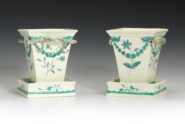 A pair of Neale square shaped jardinières and stands, circa 1780-90