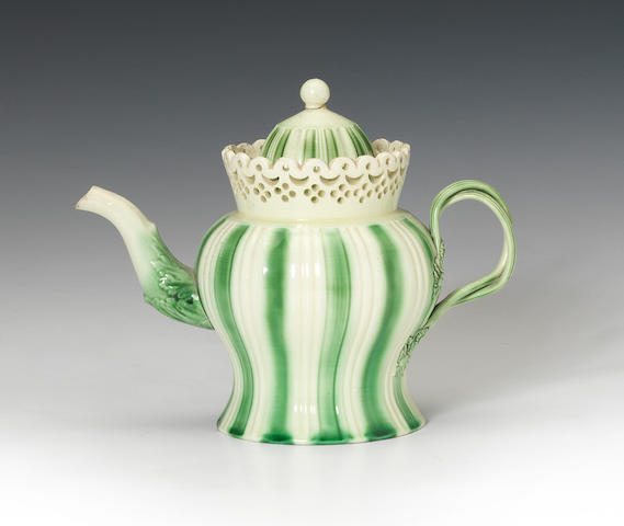 A creamware teapot and cover, circa 1775-80