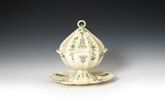 A rare creamware tureen, cover and stand of 'Melbourne type', circa 1770-80