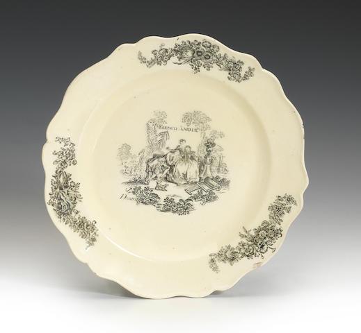 A rare Cockpit Hill creamware small plate, circa 1765