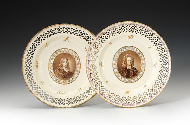 A pair of pierced plates