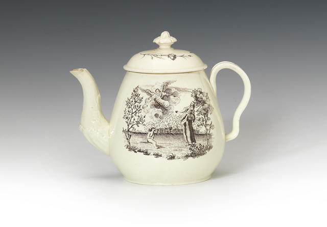 A Leeds teapot and cover, circa 1780