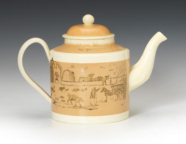 A North Eastern banded earthenware teapot and cover, dated 1792