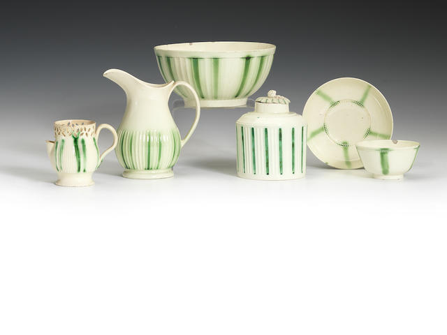 A collection of creamware teawares, circa 1780