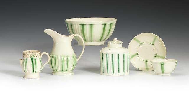 A collection of creamware teawares, circa 1780
