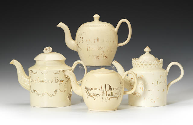Four creamware teapots and covers, two dated 1760 and 1769