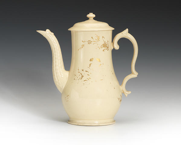 A rare creamware coffee pot and cover, circa 1765