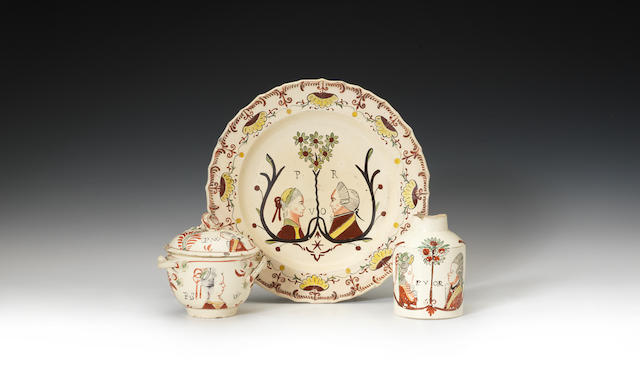 A set of Dutch decorated items with Royal/Liberty subjects