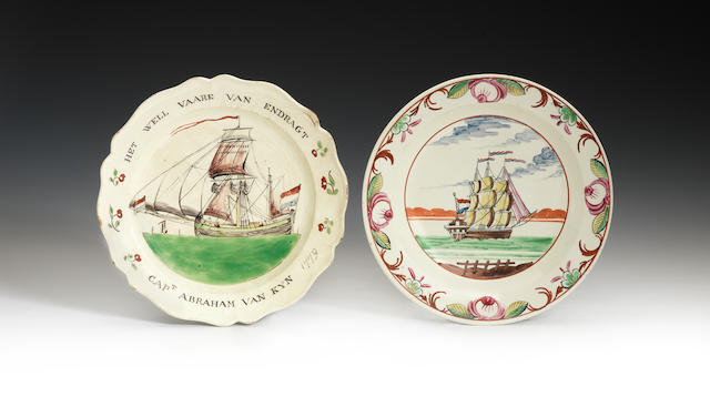 Two Dutch decorated Ship plates