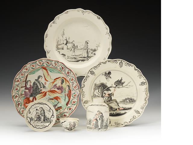 A collection of Dutch decorated creamware