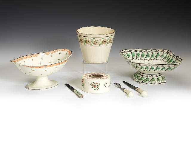 Various enamelled creamware items