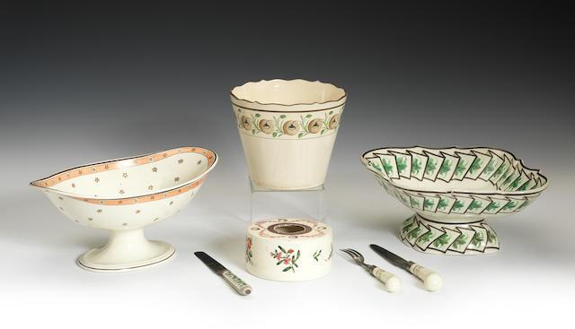 Various enamelled creamware items