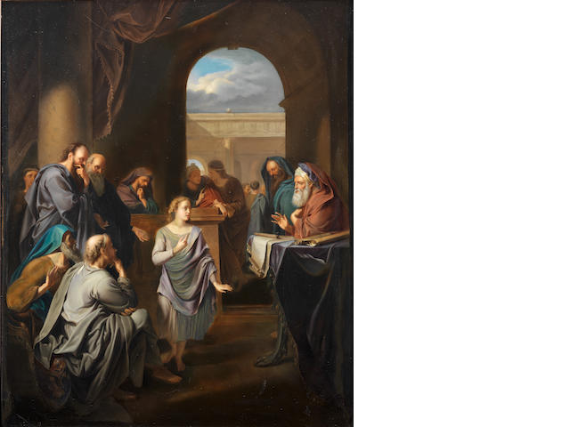 A large continental porcelain plaque hand painted with a view of Christ teaching in the temple (heavily restored)