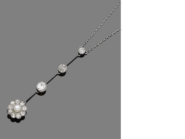 A pearl and diamond pendant necklace,