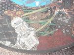 A large cloisonné wall plaque Meiji