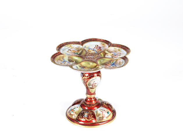 A small Austrian late 19th century parcel-gilt red-ground enamel tazza