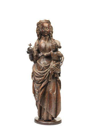 A late 15th century oak Madonna and Child