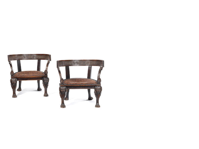 A pair of fauteuils with horse-shoe backs