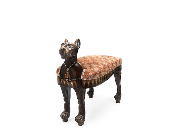 An Egyptian late 19th century inlaid stool in the form of a cat