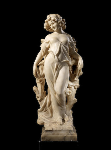 An Italian late 19th century alabaster figure of a lady by Prof.J.Bastiani